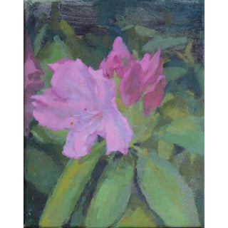 Pink Flowers Original Oil Painting by Michelle Farro For Sale