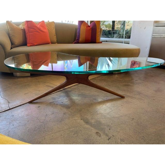 Vladimir Kagan Vladimir Kagan Bimorphic Glass Top Cocktail Table For Sale - Image 4 of 6