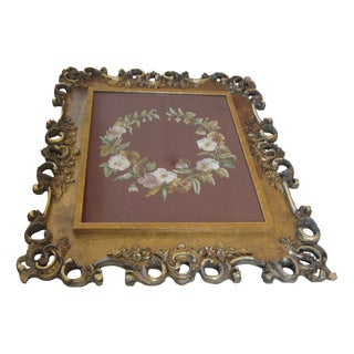 Antique Rococo Framed Embroidered Floral Wreath