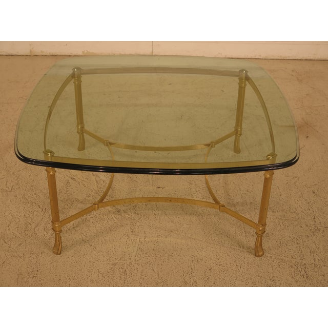 Labarge Glass Top Brass Base Coffee Table For Sale - Image 10 of 10