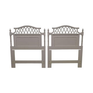 Faux Bamboo Vintage Pair White Painted Twin Headboards For Sale