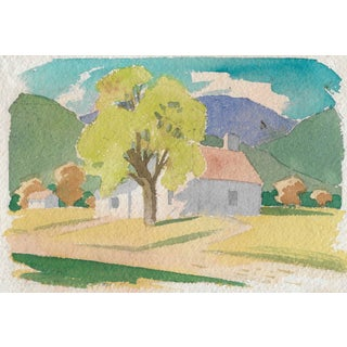 1940s Bucolic Watercolor Painting by Henry Gasser For Sale