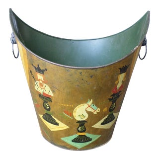 Hollywood Regency Hand-Painted Tole Waste Can For Sale