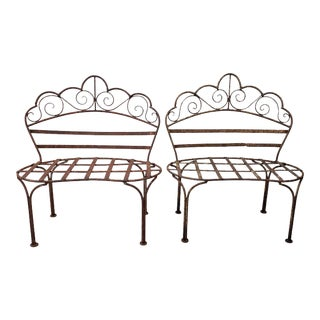 19th Century Wrought Iron Children's Benches / Patio Plant Stands - a Pair For Sale