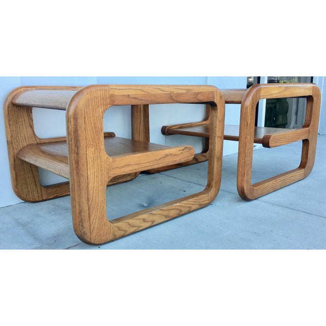 Geometric Oak & Glass Side Tables - Image 3 of 8