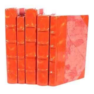 Prismatic Patent Orange & Gold Books - Set of 5 For Sale