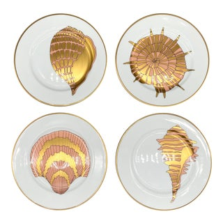 """1970's Fitz and Floyd White, Gold and Pink Shell """"Coquille D'Or"""" Pattern Luncheon Plates - Set of 4 For Sale"""