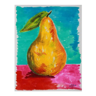 Pear Still Life Abstract Painting by Cleo
