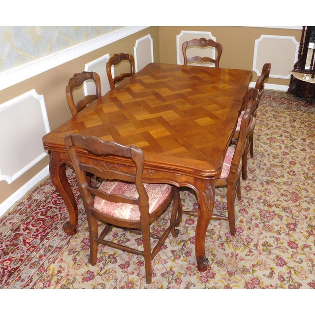 1960s French Country Oak Draw Leaf Table & 6 Chairs - Image 4 of 10