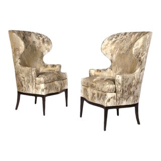 Dunbar Wingback Chairs Designed by Edward Wormley in a Custom Cartier Textile For Sale