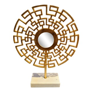 Gold & White Marble Mirrored Sculpture For Sale
