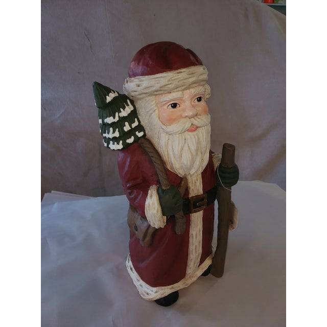 Paper Traditional Holiday Santa With Staff Vintage For Sale - Image 7 of 7