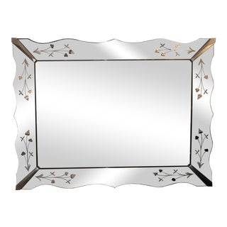 Etched Venetian Beveled Mirror For Sale