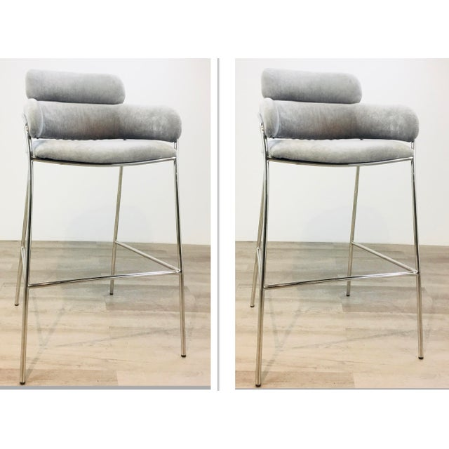 Gray Interlude Home Modern Gray Velvet Counter Stools - a Pair For Sale - Image 8 of 8