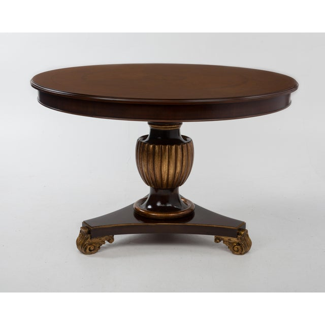 Italian Center Table Pedestal Base Inlaid Mahogany Burl Gilt Italy 1970s For Sale - Image 4 of 13