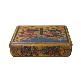Chinese Distressed Yellow Dragons Graphic Rectangular Shape Box For Sale