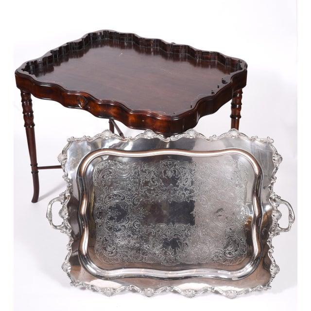 Mahogany Vintage Mahogany Base Frame Silver Plate Tray Table For Sale - Image 7 of 13