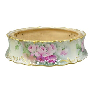 Tv Limoges France Hand Painted Roses Flowers Porcelain Pudding Bowl Planter For Sale