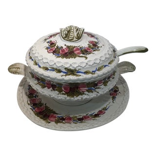 1960s Vintage Italian Floral Pattern Soup Tureen With Ladle and Tray - Set of 3 For Sale
