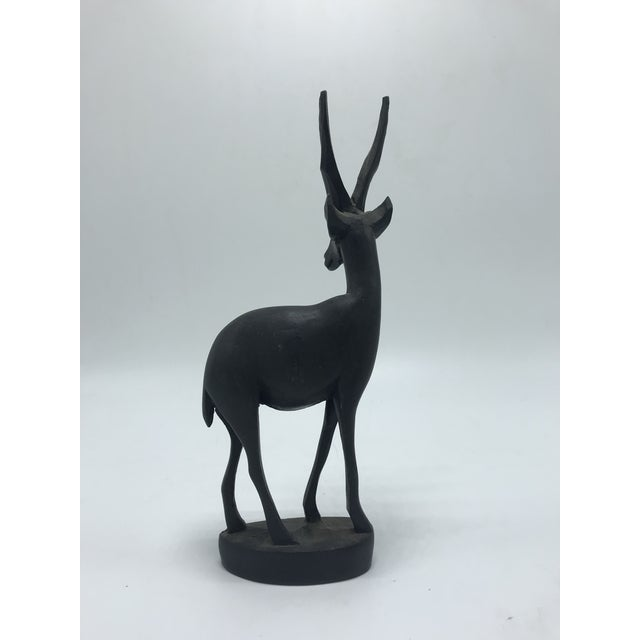 Dark Brown Wood Antelope Sculpture For Sale - Image 4 of 7