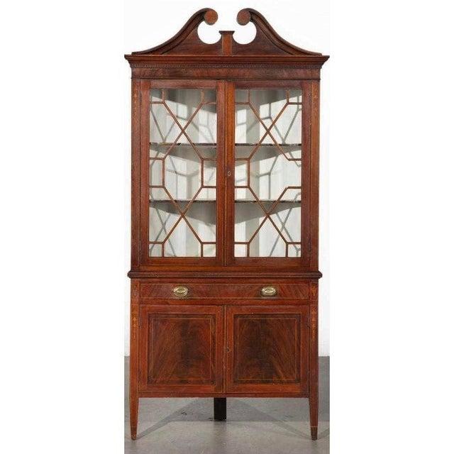 Antique American Federal Style Mahogany Display Corner China Cabinet