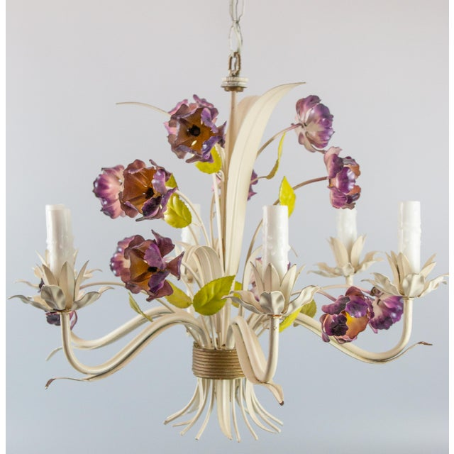 """Mid-20th century Italian tole six-arm floral chandelier. It still retains the original """"Made In Italy"""" metal tag. This..."""