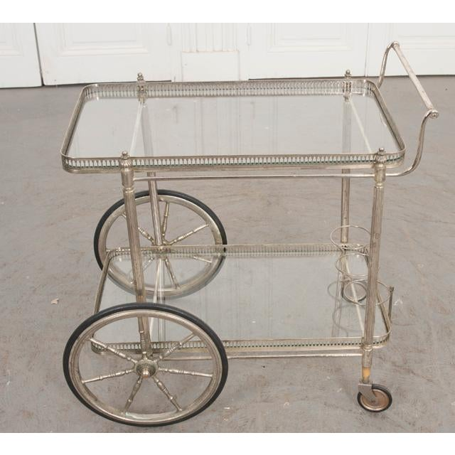 Metal French Vintage Silver Bar Cart For Sale - Image 7 of 13