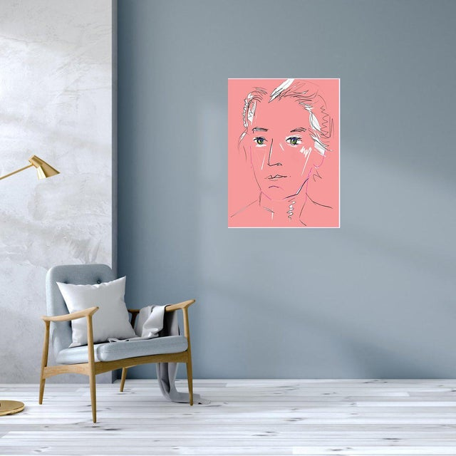 """Paper """"Pink Lady"""" by Trixie Pitts Original Print on Heavy Paper For Sale - Image 7 of 13"""