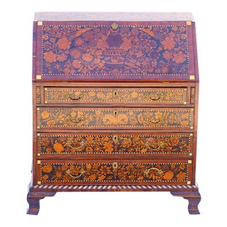 19th C. English Slant Front Commode With Mother of Pearl Inlay For Sale
