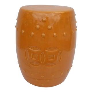 Vintage Orange Ceramic Garden Stool For Sale