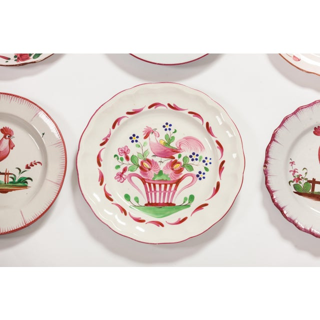 6 Piece Rooster Themed Pottery Plates For Sale In New York - Image 6 of 8
