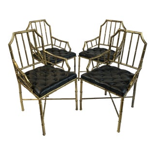 1950s Vintage Brass and Leather Faux Bamboo Chippendale Dining Chairs- Set of 4 For Sale