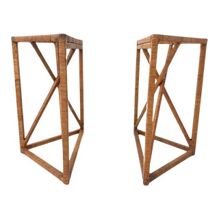 Mid Century Modern Rattan Wrapped Wicker Trestles for Desk / Console / Pedestal Table - a Pair For Sale