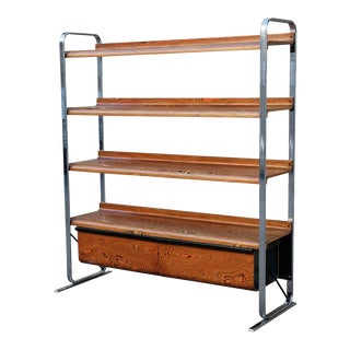 Peter Protzmann for Herman Miller Zebrawood and Chrome Bookshelf For Sale