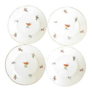 Antique Swain & Co Huttensteinach Thuringia Germany Porcelain Salad Plates With Hand-Painted Floral Design - Set of 4 For Sale