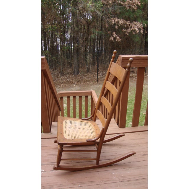 Late 18th Century Antique 18th C. Early American Ladderback Rocker Chair For Sale - Image 5 of 11