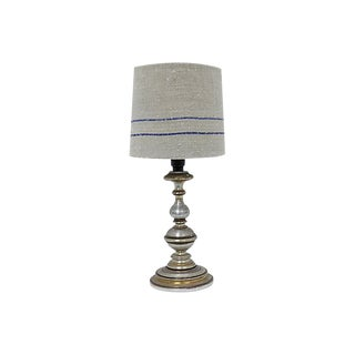 Antique French Grain Sack Lamp Shade For Sale