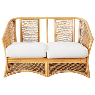 Midcentury Bamboo Rattan Wicker Settee or Loveseat For Sale