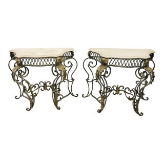 Pair Vintage Wrought Iron & Stone Side Tables For Sale