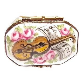 Vintage Limoges Porcelain Violin & Music Box For Sale