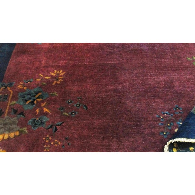 """Early 20th Century Antique Art Deco Chinese Oriental Rug-8' X 9'6"""" For Sale - Image 5 of 12"""