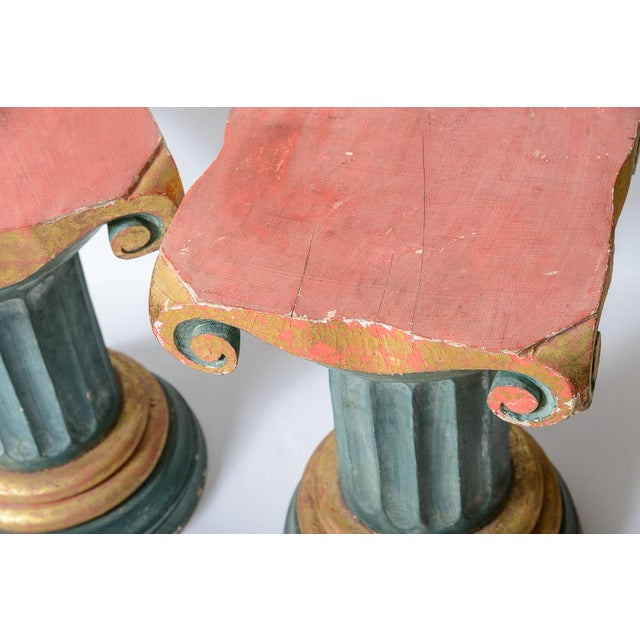 Polychromed Wood Roman Fluted Columns Pillars Pedestal Stools, A-Pair For Sale - Image 9 of 12
