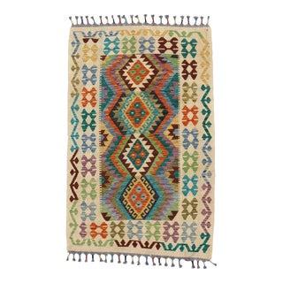 Afghan Kilim Handspun Wool Rug - 4′1″ × 5′8″ For Sale