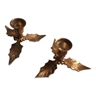 Restoration Hardware Christmas Holiday Holly Candle Holders - a Pair For Sale