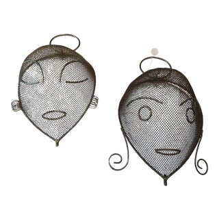 1950s Frederick Weinberg Faces Masks - a Pair For Sale
