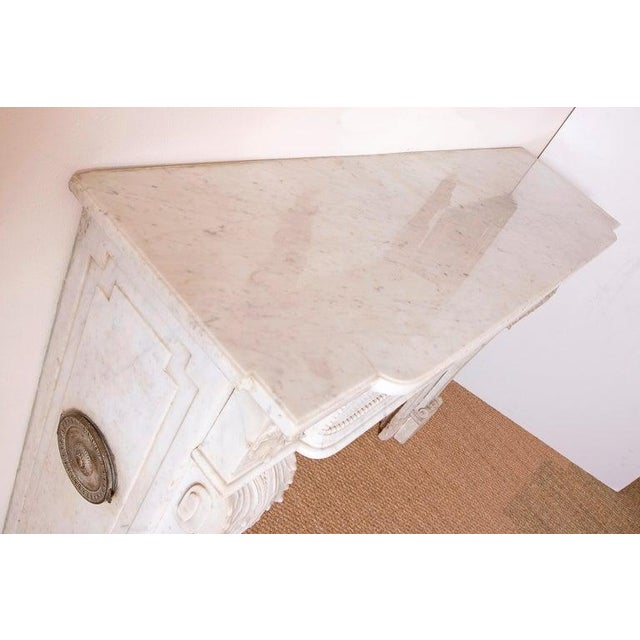 19th Century Louis XVI Style Carrara Marble Fireplace Surround / Mantel For Sale - Image 12 of 13