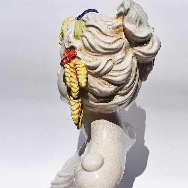 Figurative Italian Majolica Ceramic Hand Painted Bust of a Woman With Wheat and Tassel Crown For Sale - Image 3 of 4