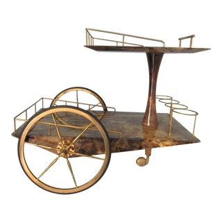 Aldo Tura Lacquered Goatskin and Brass Wedge Shaped Bar Cart For Sale