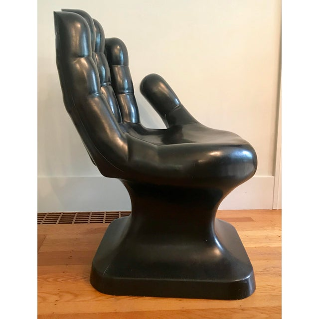 1960s 1960's Vintage Friedeberg Style Black Fiberglass Hand Chair For Sale - Image 5 of 8