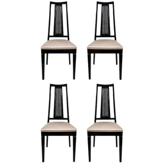 Set/ 4 Mid-Century Modern Cane Back Dining Chairs Attributed to John Stuart For Sale